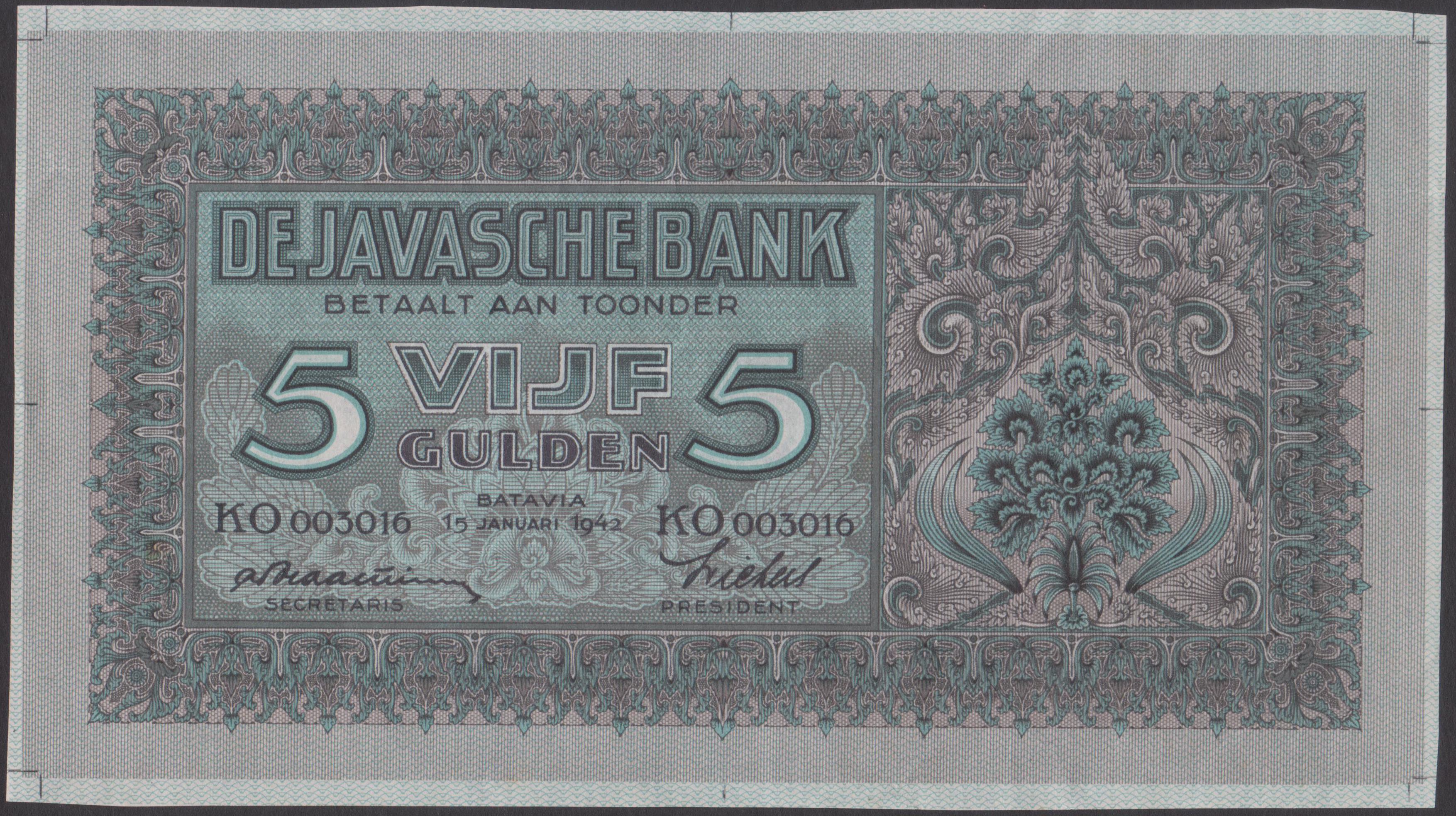 New discovery: Netherlands Indies 5 gulden 1942 without specimen overprint and perforation